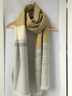 Cashmere Scarf Handwoven Mustard Yellow Gray 20 x 80 Weaving Designs, Weaving Projects, Weaving Patterns, Woven Scarves, Crochet Scarves, Knit Crochet, Inkle Weaving, Hand Weaving, Hand Knit Scarf