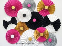 Kate Spade Inspired Paper Rosettes/ Paper Fans - Set of 12 - Bright Pink, Black, White, Gold Pink Parties, Birthday Parties, 21st Birthday, Birthday Ideas, Crepe Paper Backdrop, Kate Spade Bridal, Gender Reveal Party Decorations, Tissue Paper Flowers, Paper Fans