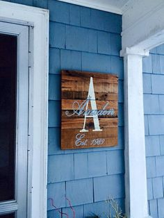 Monogrammed Wood Sign with personalized by barndoorstudios on Etsy