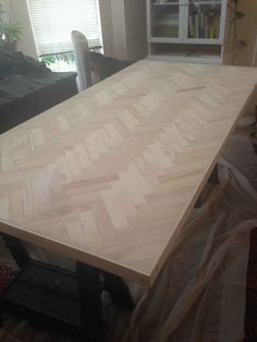 How-to: Herringbone table  Omg this would beautiful for countertops
