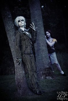 Jack and Sally from Nightmare Before Christmas.