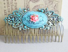 Turquoise Hair Comb for Wedding Blue Hair Comb Pink Rustic Secret Garden Romantic Dreamy Bridesmaid Maid of Honor Gift