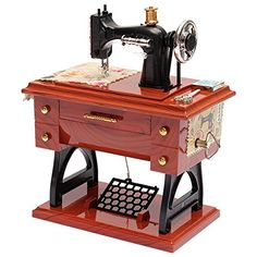 TonTech Newest Christmas Gift Retro Musical Sewing Machine Hand Crank Clockwork Relax Music Box Vintage Brown Plastic *** See this great product.