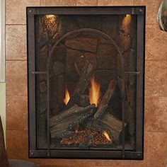 "27"" Forest Hills Traditional Portrait Clean Face Direct Vent Fireplace with Liner, Lighting, and Remote (Electronic Ignition) - Empire Comfort Systems"
