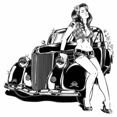 Rockabilly, Desenho Pop Art, Cool Silhouettes, Canson, Poster Drawing, Macabre Art, Reproduction, Car Drawings, Monster Art