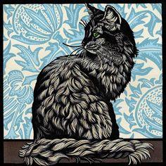 Cat Linocut by Jill Kerr would make an amazing black ink woodcut tattoo Mais Linocut Prints, Art Prints, Block Prints, Art Graphique, Wood Engraving, Art Plastique, Woodblock Print, Cat Art, Art Projects