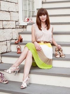 plaid skirt & Equipment blouse & clear heel