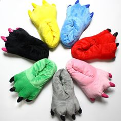 Zimní teplé měkké 18cm Vnitřní patro Papuče 1-5 Rok Dětská obuv Paw Funny  Zvířecí Vánoce Monster Dinosaur Claw Plush Domů d75b54449dc