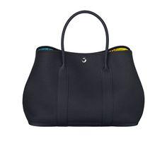 "Garden Party 36 Hermes bag in Negonda calfskin (size GM) Measures 14"" x 10.25"" x 6.5""<br />Twill canvas lining<br />Interior pocket<br />Palladium plated Clou de Selle snap closure Color : indigo blue/atoll blue/lime"