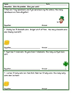 Here are some addition and subtraction story problems with a St. Patrick's Day theme.  They were designed for second graders to practice addition a...
