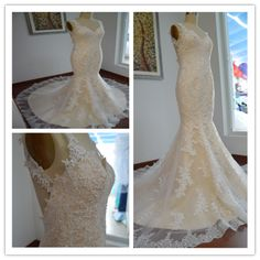A5 spaghetti straps sexy long chapel train lace long mermaid wedding dresses, wedding gowns in stock
