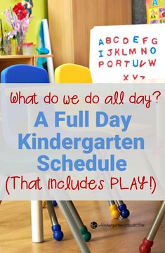An interesting look into a full day kindergarten schedule that incorporates play into their day! A great article for early childhood teachers to consider. kindergarten Teaching Kindergartners How to Write a Sentence Kindergarten Schedule, Full Day Kindergarten, Kindergarten Lesson Plans, Homeschool Kindergarten, Classroom Schedule, Kindergarten Procedures, Kindergarten Classroom Organization, Kindergarten Centers, Kindergarten Center Management