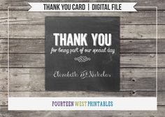 Chalkboard Thank You Card -- INSTANT DOWNLOAD