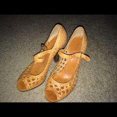 Woven leather peep toe stacked heel Beautiful BCBG leather woven peep toe stacked heel. BCBG Shoes