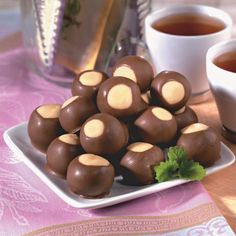 Have got to try these, they look so good. Little chocolate covered peanut butter balls. I'd choose a better peanut butter than Jiff though.