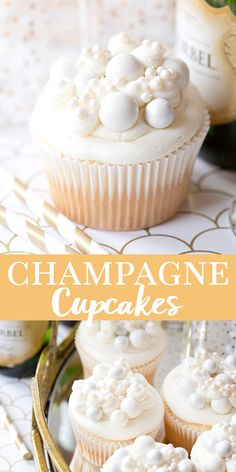 The perfect NYE dessert. We make these every year for New Year's Eve! They have REAL champagne in the frosting they're SO easy to make and so delicious! New Year's Desserts, Fall Dessert Recipes, Cupcake Recipes, Delicious Desserts, Cupcake Cakes, Snack Recipes, Easy Fall Desserts, Delicious Cupcakes, Spring Recipes
