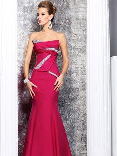 Satin Sequined Stapless Floor-length Evening Dress