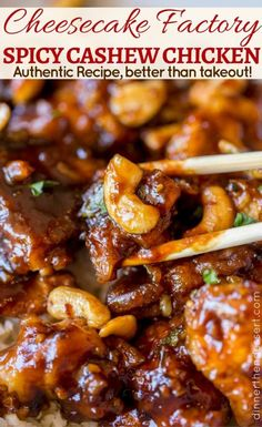 Cheesecake Factory's Spicy Cashew Chicken is spicy, sweet, crispy & crunchy, this dish is everything you could hope for and more in a copycat Chinese food recipe! Cheesecake Factory's Spicy Cashew Chicken (Copycat) - Dinner, then Dessert Angelika B The Cheesecake Factory, Asian Recipes, Mexican Food Recipes, Slow Cooker Cashew Chicken, Asian Cooking, Cookies Et Biscuits, Restaurant Recipes, Chinese Food, Spicy Chinese Chicken