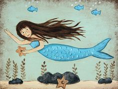 THIS ITEM IS READY TO SHIP  The hand painted original primitive style design on this wood plaque features an underwater scene with a mermaid