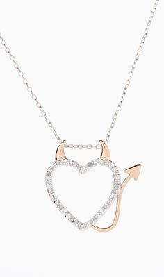 Two-Tone & Diamond Devil Heart Pendant Necklace. Have this got it Valentine's Day from Hubby.