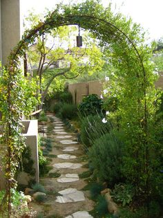 What makes this space special: The vine-clad arbor creates a welcoming doorway. The stepping stones are nicely spaced, so people can even walk here in bare feet. The Mediterranean plantings have a unified, green palette to soothe the eyes — and there's even fragrant lavender, to release its scent when ankles brush by.