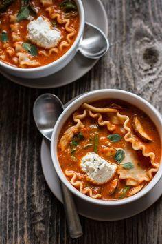 Vegetable Lasagna Soup [with easy vegan option]   edibleperspective.com #glutenfree #vegan