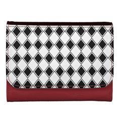black and white harlequin diamond pattern wallets