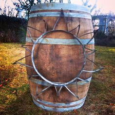 Creative Repurposed Wine Barrel Ring Ideas - The Urban Interior Wine Barrel Crafts, Wine Barrel Rings, Wine Barrels, Barrel Projects, Wood Projects, Whiskey Barrel Furniture, Barbed Wire Art, Metal Barrel, Wine Craft
