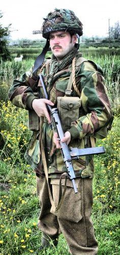 British Paratrooper with MK II Sten Gun.