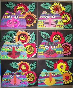 Laurel Burch inspired cats using construction paper and paint. Classroom Art Projects, School Art Projects, Art Classroom, Laurel Burch, First Grade Art, Ecole Art, Art Lessons Elementary, Art Lesson Plans, Klimt