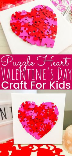 A simple but fun Puzzle Heart Valentine's Day Craft for kids to make! Perfect for kids to create a heart Valentine gift. An easy kids craft heart for Valentine's Day. - simplytodaylife.com #ValentineCraft #ValentinesDayCraft #KidsCraft #HeartCraft #CanvasCraft #PuzzleHeartCraft #PuzzleCraft #DIYCanvasCraft #CraftForKids