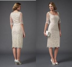 Elegant Knee Length Short Light Champagne Mother Of the Bride Groom Lace Dresses With Half Sleeves Vestidos de Noiva Plus Size