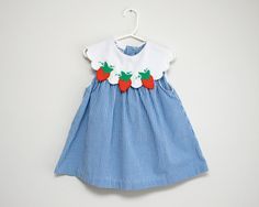 Vintage blue and white gingham dress with strawberries.