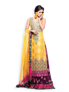 Pure Silk Chiffon Sharara with Yellow Top