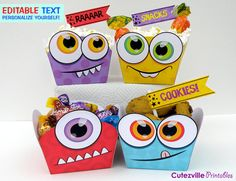 PDF Printable Monster Snack Boxes/Gift Baskets With Editable Text Features - Personalize Yourself - INSTANT DOWNLOAD