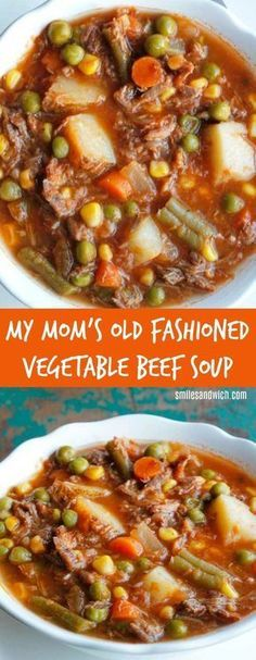 My Mom's Old Fashioned Vegetable Beef Soup - an easy dinner recipe that can be made in the slow cooker! An all-time favorite comfort food recipes. It's a homemade vegetable beef soup that's quick and easy! comfort food Vegetable Recipes For Kids Crock Pot Recipes, Beef Soup Recipes, Slow Cooker Recipes, Healthy Recipes, Crockpot Meals, Beef Soups, Healthy Soup, Cheap Recipes, Food Dinners