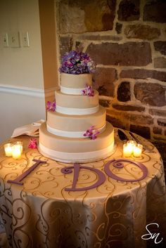 "Cake table letters. Cute...except it's say ""we do"" :)"