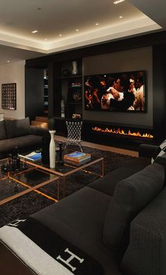Living Room Design Dark Furniture Therefore a fireplace is just the right installation. May you like dark living room furniture. 42 Chic Interior Design For You This Summer Family Room. Home Design, Home Interior Design, Interior Ideas, Modern Design, Cosy Interior, Hall Interior, Design Homes, Luxury Kitchen Design, Living Room Designs