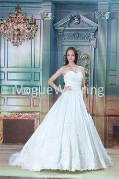 White Church Sweetheart Spring/ Fall Court Train Princess Wedding Gown -Wedding Dresses