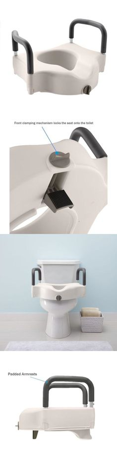 Toilet Seats: Elevated Toilet Seat Add Height Disabled Bathroom Safety Padded Hand Support -> BUY IT NOW ONLY: $52.68 on eBay!