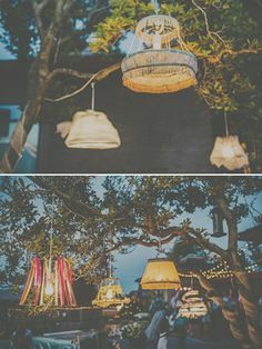 Vintage Glam Backyard Wedding with a ton of diy elements. Event Lighting, Outdoor Lighting, Wedding Lighting, Backyard Lighting, Vintage Lampshades, Lampshade Decor, Vintage Chandelier, Deco Boheme, Tree Wedding