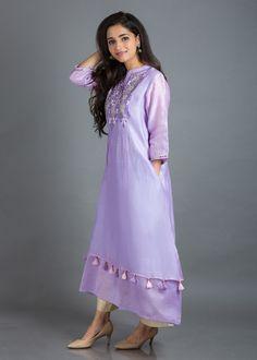 Lavender Silk Chanderi Tunic with Gota Patti & Threadwork Khadi Kurta, Silk Kurti, Shalwar Kameez, Churidar, Kurta Designs Women, Salwar Designs, Indian Dresses, Ikat Dresses, Panel Dress