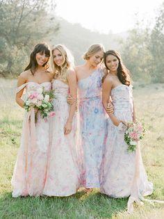Floral Print bridesmaids dresses #wedding #bridesmaid
