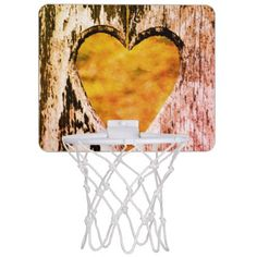 Rustic Heart Carved Wood Mini Basketball Backboard - Saint Valentine's Day gift idea couple love girlfriend boyfriend design