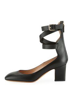 de2e1d08cc7 Plum Leather Back-Zip Ankle-Wrap Pump Valentino Garavani