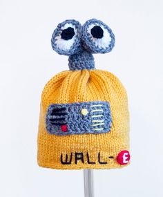 Walle Hat from Disney Pixar, Yellow Knit / Crochet Robot Beanie baby-adult #Handmade #Beanie