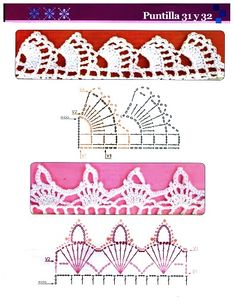 Esquemas para Puntillas en Crochet ➤ ➤ Crochet Patrones Crochet Lace Collar, Crochet Cord, Crochet Curtains, Hippie Chic, Crochet Flowers, Mary, Ideas, Crocheting Patterns, Crochet Edgings