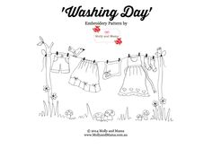 Hand Embroidery 'Washing Day' - a free embroidery pattern from Molly and Mama - Read practical tips for back stitch for embroidery and hand sewing. Lots of ideas, and a free laundry day embroidery pattern. Free Motion Embroidery, Embroidery Patterns Free, Hand Embroidery Designs, Machine Embroidery, Stitch Patterns, Embroidery Supplies, Machine Applique, Pdf Patterns, Applique Designs