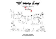 «Lavado Day '- un patrón de bordado libre de Molly y Mama