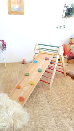Foldable climbing spiked triangle and wall rock board - wooden slide / climbing frame for babies and toddlers # Wooden Plugs, Bois Diy, Selling Handmade Items, Rock Wall, Montessori Toys, Wood Glue, Kids Playing, Wooden Toys, Kids Room